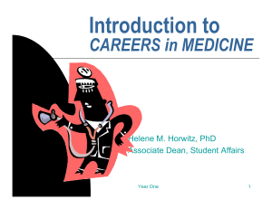 Introduction to CAREERS in MEDICINE Helene M. Horwitz, PhD Associate Dean, Student Affairs