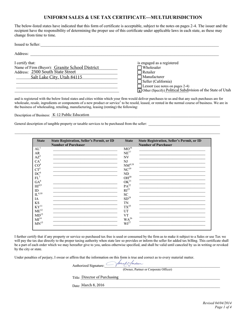 Texas Sales And Use Tax Exemption Certification Blank Form