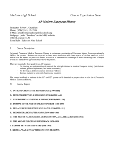 Madison High School Course Expectation Sheet AP Modern European History