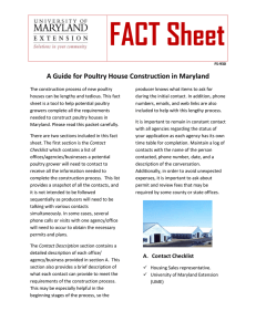 FACT Sheet A Guide for Poultry House Construction in Maryland