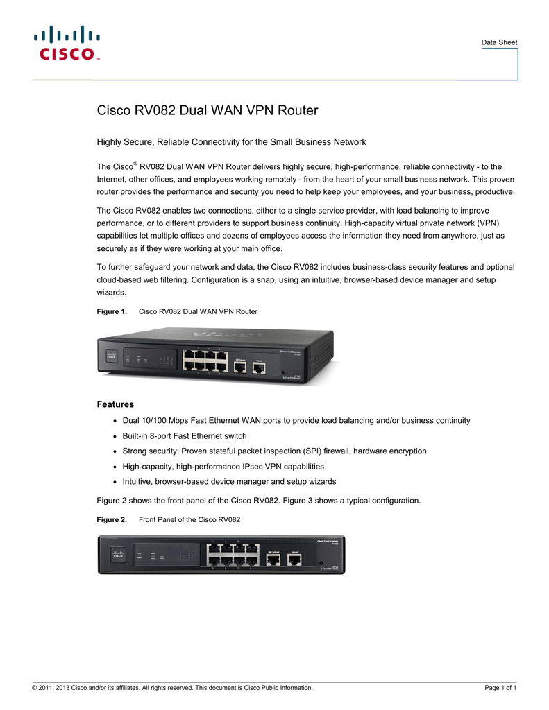 Cisco RV082 Dual WAN VPN Router