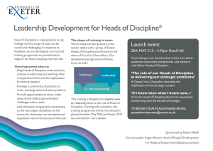 Leadership Development for Heads of Discipline* Launch event