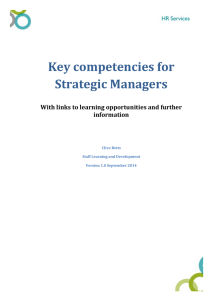 Key competencies for Strategic Managers With links to learning opportunities and further information