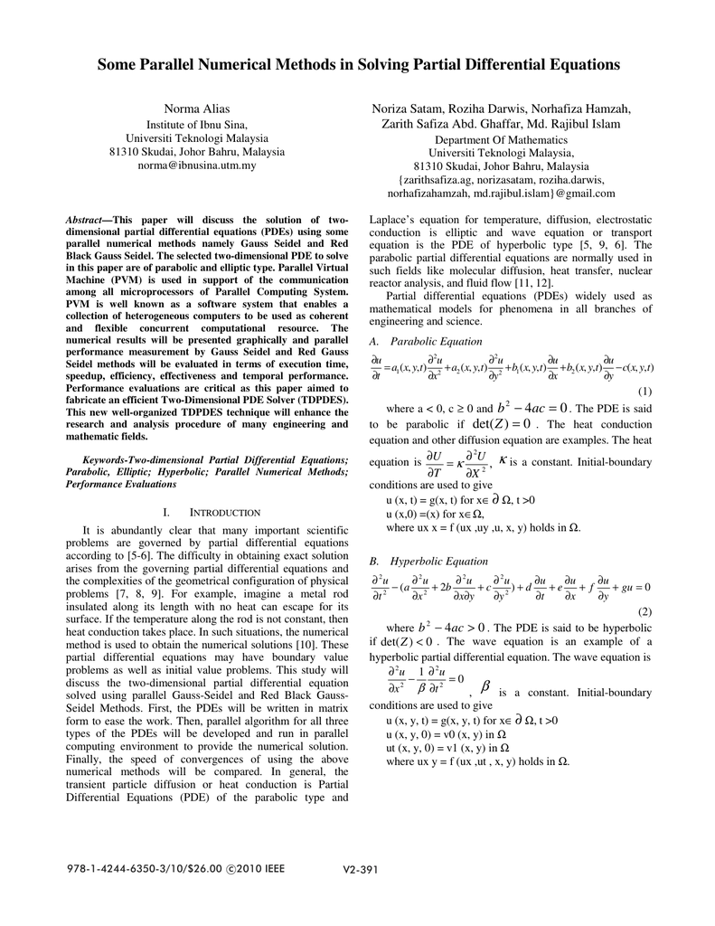 Some Parallel Numerical Methods in Solving Partial