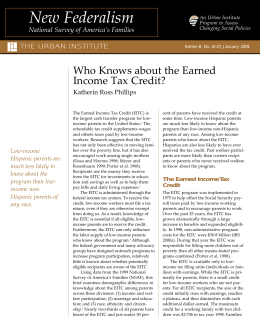 Who Knows about the Earned Income Tax Credit? Katherin Ross Phillips