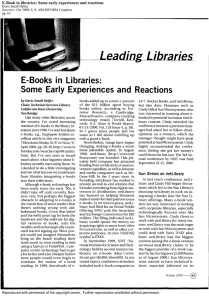 E-Books  in  Libraries: