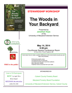 The Woods in Your Backyard STEWARDSHIP WORKSHOP