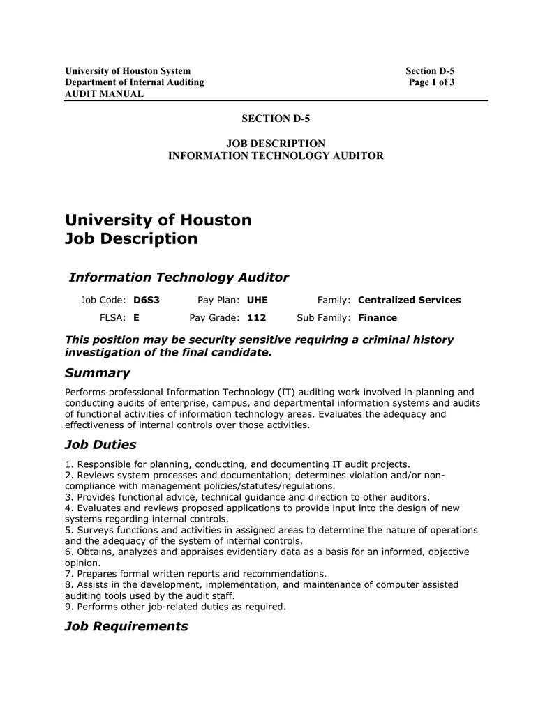 Auditor Job Description | University Of Houston Job Description Information Technology Auditor
