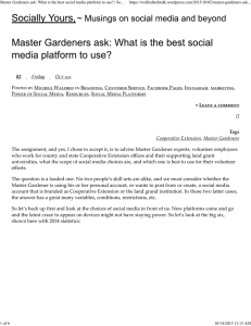 Master Gardeners ask: What is the best social media platform...