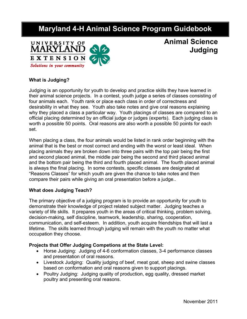 Maryland 4 H Animal Science Program Guidebook Animal Science Judging