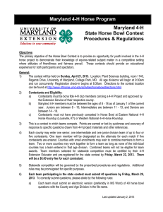 Maryland 4-H Horse Program Maryland 4-H State Horse Bowl Contest Procedures & Regulations