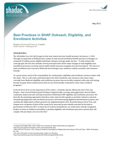 Best Practices in SHAP Outreach, Eligibility, and Enrollment Activities Introduction