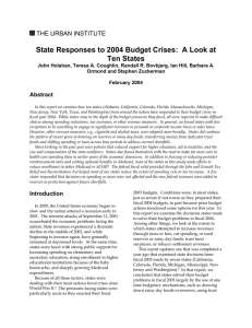 State Responses to 2004 Budget Crises:  A Look at
