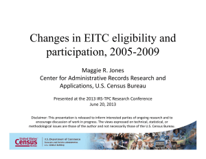 Changes in EITC eligibility and participation, 2005-2009 Maggie R. Jones Center for Administrative Records Research and