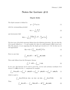 Notes for Lecture #11 Dipole fields