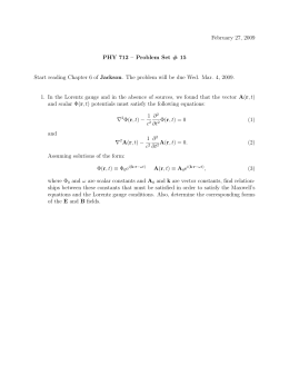 February 27, 2009 PHY 712 – Problem Set # 15