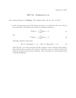February 22, 2011 PHY 712 – Problem Set # 14