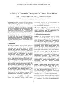 A Survey of Pharmacist Participation in Trauma Resuscitation