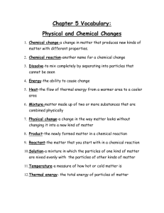 Chapter 5 Vocabulary: Physical and Chemical Changes