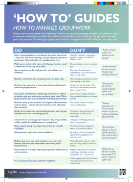 'HOW TO' GUIDES HOW TO MANAGE GROUPWORK