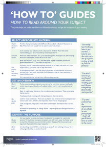 'HOW TO' GUIDES HOW TO READ AROUND YOUR SUBJECT SELECT APPROPRIATE MATERIAL