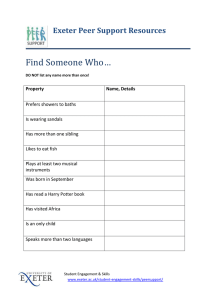 Find Someone Who… Exeter Peer Support Resources