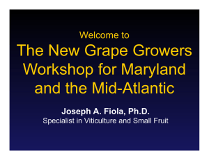 The New Grape Growers Workshop for Maryland and the Mid-Atlantic Welcome to
