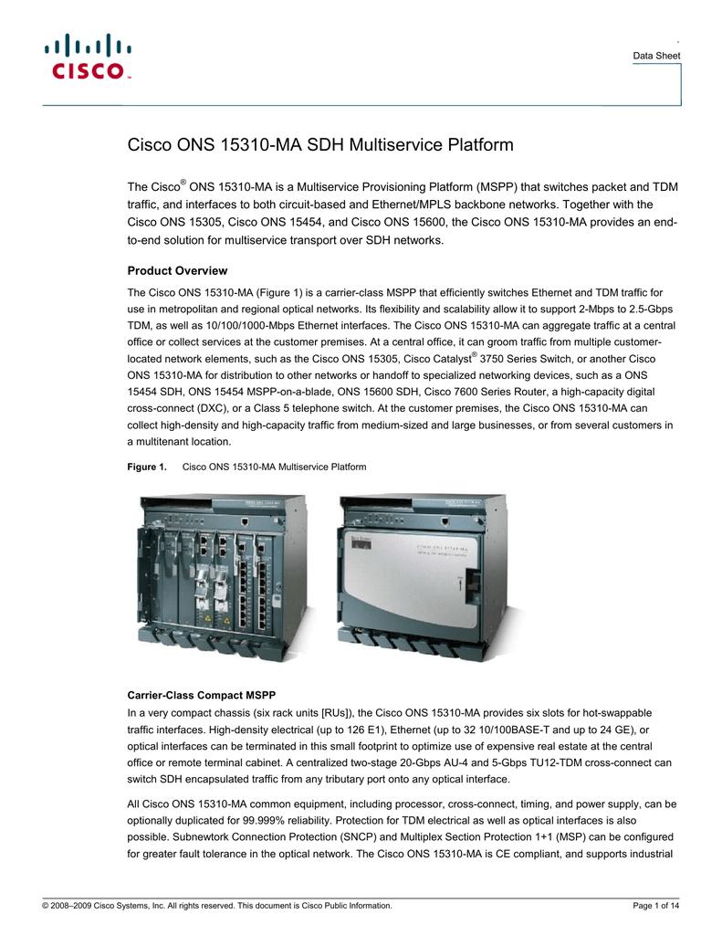 Cisco ONS 15310-MA SDH Multiservice Platform