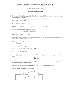 DEPARTMENT OF COMPUTER SCIENCE SAMPLE QUESTIONS Mathematical aptitude