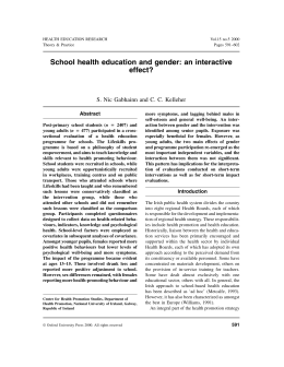 School health education and gender: an interactive effect? Abstract
