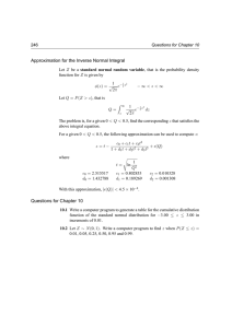 Approximation for the Inverse Normal Integral Questions for Chapter 10 246 Z