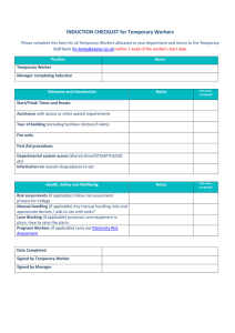 INDUCTION CHECKLIST for Temporary Workers