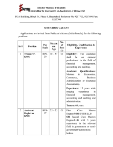 Khyber Medical University SITUATION VACANT (Committed to Excellence in Academics & Research)