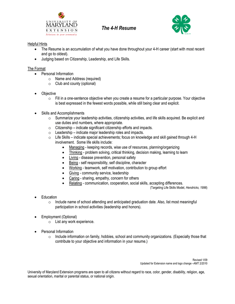 The 4 H Resume