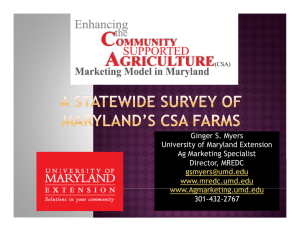 Ginger S. Myers University of Maryland Extension Ag Marketing Specialist Director, MREDC