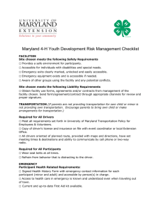 Maryland 4-H Youth Development Risk Management Checklist □