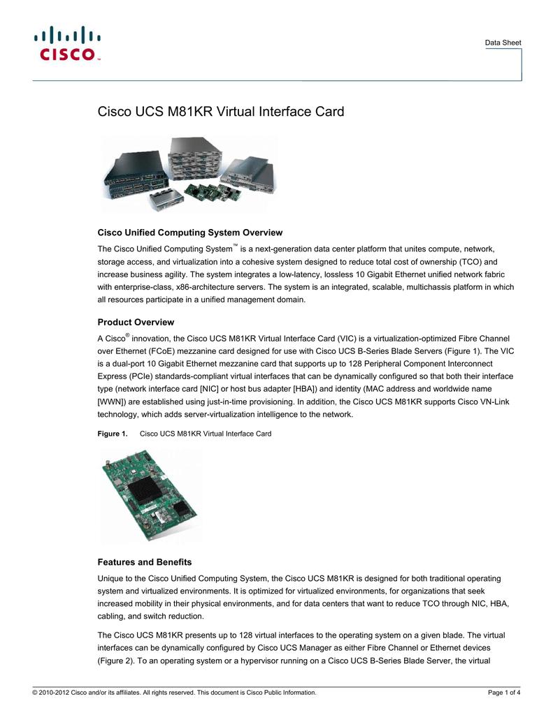 Cisco UCS M81KR Virtual Interface Card Cisco Unified