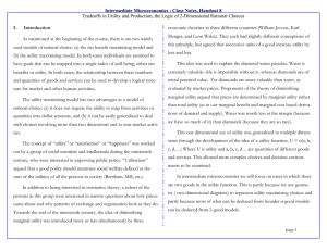 Intermediate Microeconomics : Class Notes, Handout 8 I.   Introduction