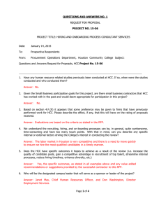QUESTIONS AND ANSWERS NO. 1 PROJECT NO. 15-06  REQUEST FOR PROPOSAL