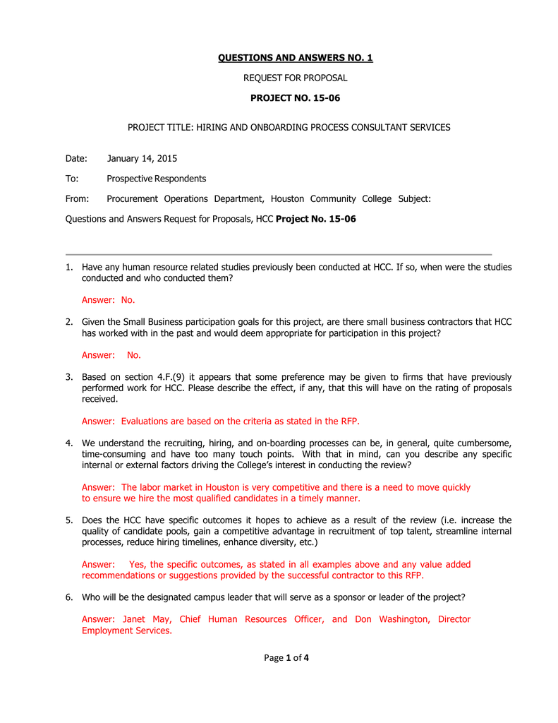 QUESTIONS AND ANSWERS NO  1 PROJECT NO  15-06 REQUEST FOR