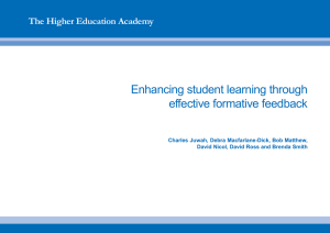 Enhancing student learning through effective formative feedback The Higher Education Academy