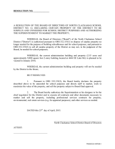 A RESOLUTION OF THE BOARD OF DIRECTORS OF NORTH CLACKAMAS... DISTRICT  NO.  12,  DECLARING  CERTAIN ... RESOLUTION NO.  _____________