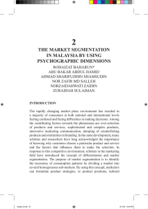 2 THE MARKET SEGMENTATION IN MALAYSIA BY USING PSYCHOGRAPHIC DIMENSIONS