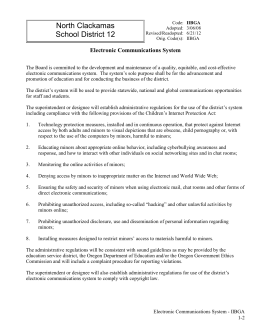 North Clackamas School District 12 Electronic Communications System