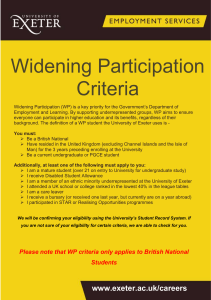 Widening Participation Criteria