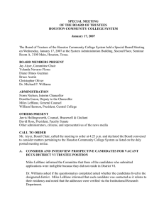 SPECIAL MEETING OF THE BOARD OF TRUSTEES HOUSTON COMMUNITY COLLEGE SYSTEM