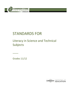 STANDARDS FOR Literacy in Science and Technical Subjects