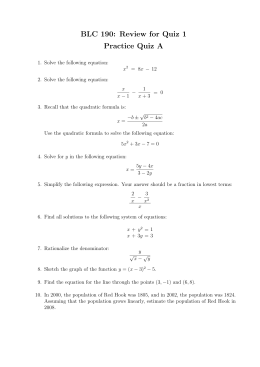 BLC 190: Review for Quiz 1 Practice Quiz A