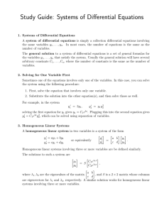 Study Guide: Systems of Differential Equations