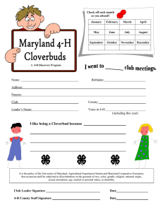 I like being a Cloverbud because  Name: Birthdate: